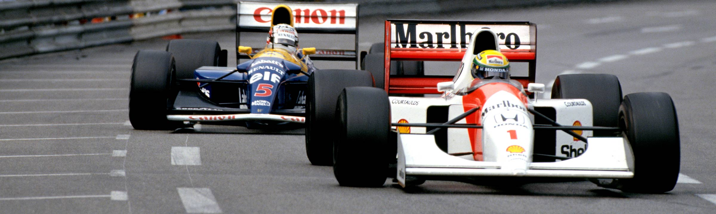 Senna and Mansell battling at Monaco