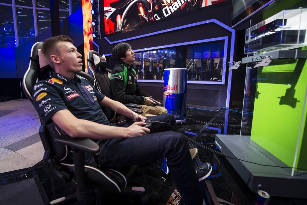 Danii Kvyat playing computer games